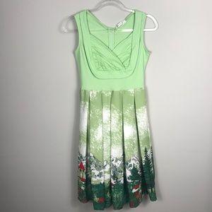 Hua Lan Green Mountains Vtg Inspired Novelty Dress